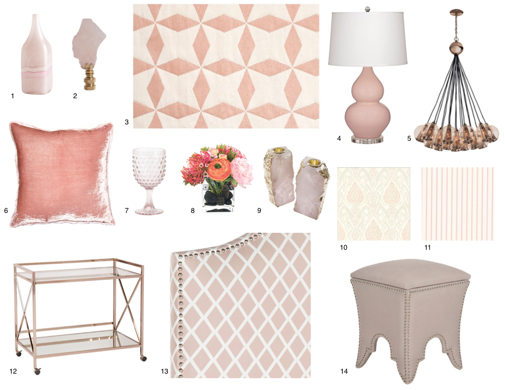 1. Tori Vase - $62.50, 2. Rose Quartz Lamp Finial - $65.00, 3. Bunny Williams Lucy Pink Indoor/Outdoor Rug - $92.00 - $2,107.00, 4. Lillian Table Lamp - $ 253.00, 5. Bratton Chandelier in Rose Gold by Arteriors Home - $4,110.00, 6. Blush Rose Velvet Throw Pillow (multiple size available) - $231.00 - $264.00, 7. Set of 6 Wine Glasses in Pink - $70.40, 8. Faux Protea Arrangement (set of 2) - $570.00, 9. Dorado Rose Quartz Candlestick - $385.00, 10. Blush Toned Wall Covering (available through Casey Sanford Interior Design), 11. Dollhouse Pretty Pink Stripe Wall Covering (available through Casey Sanford Interior Design), 12. Mirrored Serving Cart in Rose Gold - $267.99, 13. Upholstered HeadBoard in Peak Pink and White with Nickel Nail Head Trim (starting at $406.00 - multiple sizes available), 14. Upholstered Storage Ottoman in Light Pink Fabric - $401.25.