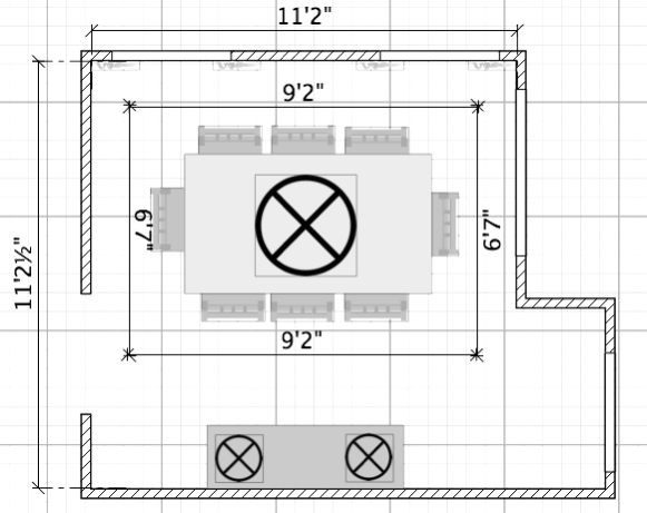 FLOOR PLAN: RUTTER DINING ROOM - Prior to Renovations