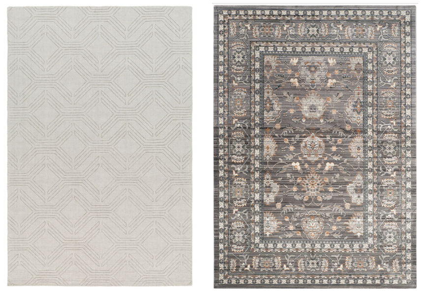 (2) 8' X 10' COORDINATING AREA RUGS PLACED ON CENTER OF EITHER MARBLE FIREPLACE