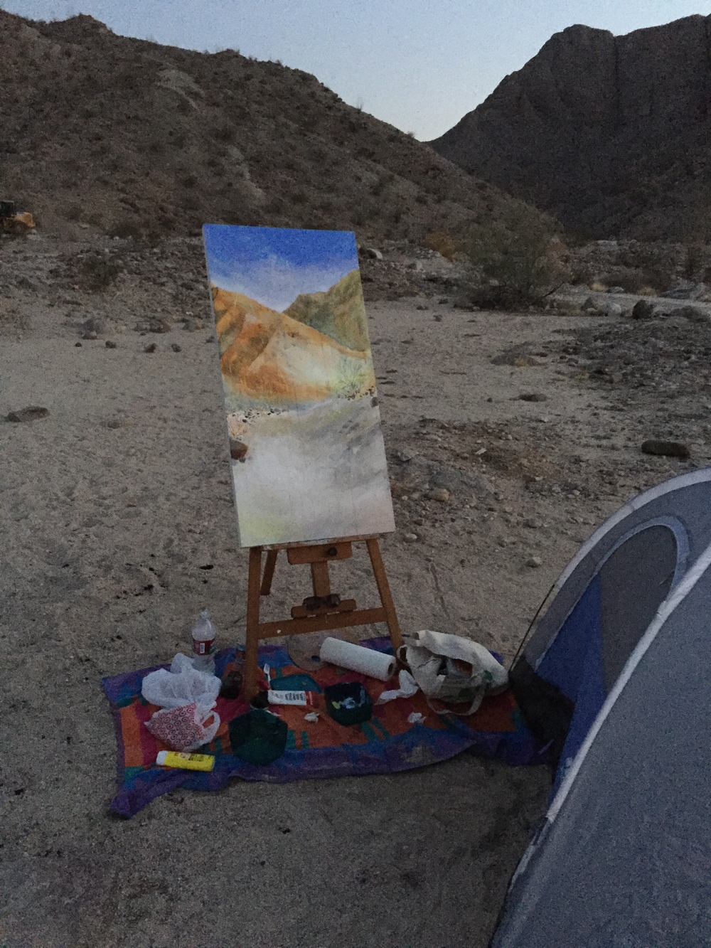 The beginning of a new painting, in the Anza Borrego Desert, CA.  © Kai Martin Art