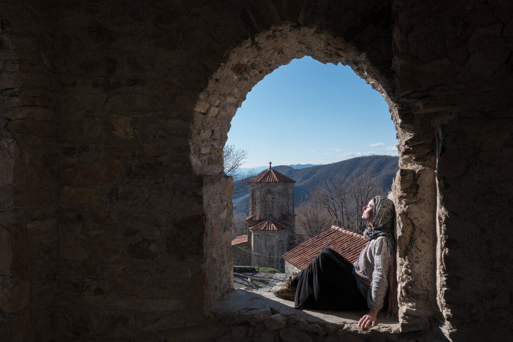 Enjoying sunshine and culture at a Monastery in the mountains.