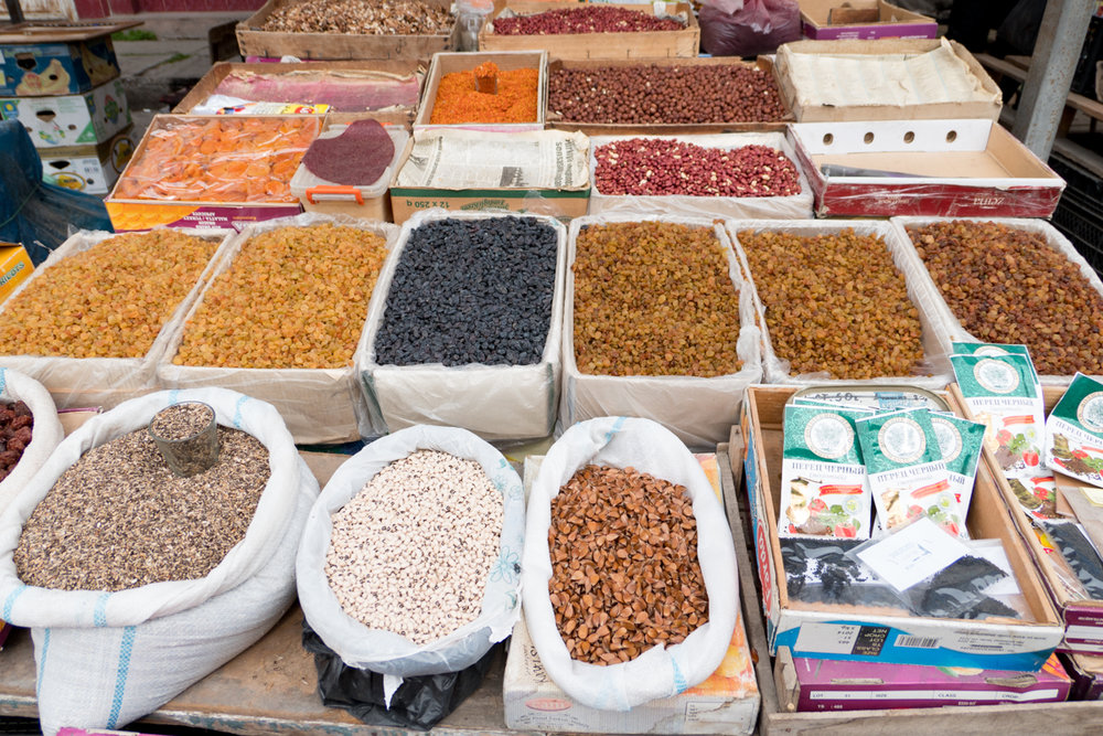 Spices, dried fruits and pulses.