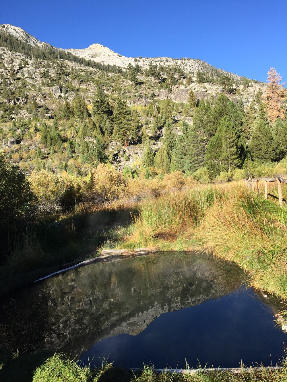 Our private hot spring near Muir Trail Ranch