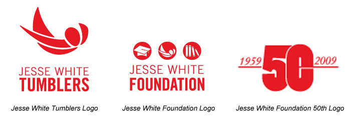 Jesse White Tumblers, Foundation and 50th Anniversary Logos