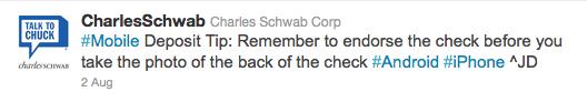 Charles Schwab - deposit tip