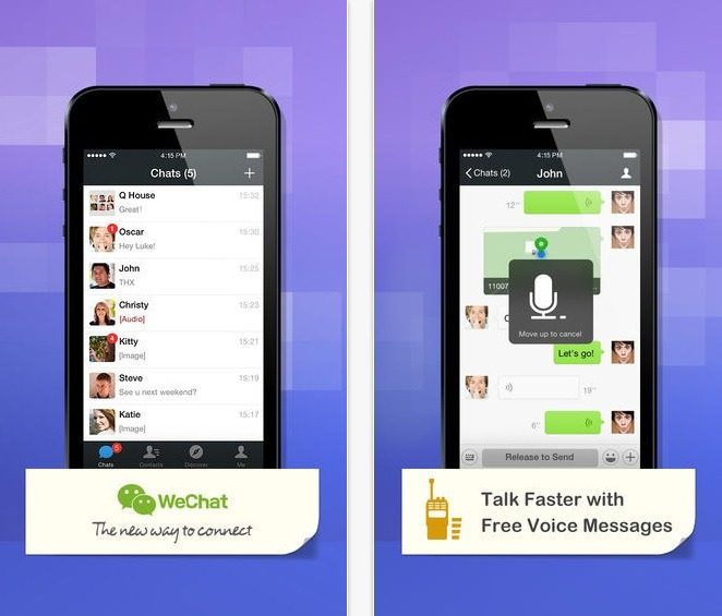 WeChat is a text and voice message social network, which allows users to connect quickly and easily with other users. And it is free.
