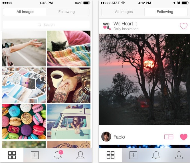 We Heart It is an application similar to Pinterest.