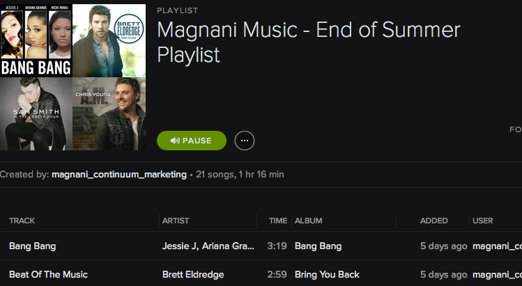 Magnani Music - End of Summer Playlist