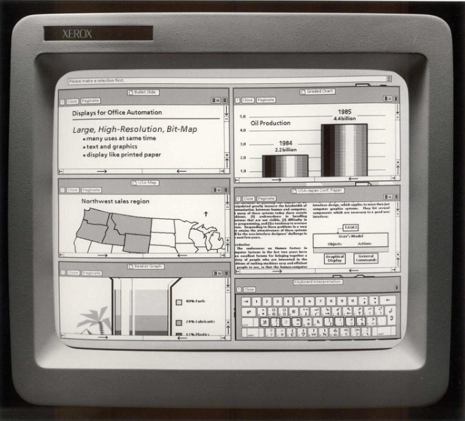The Xerox Star, with the hamburger menu item in the top right corner of each module.