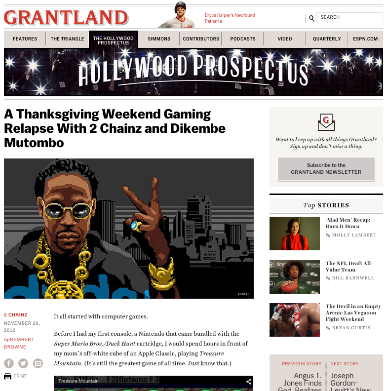 Grantland loved it.