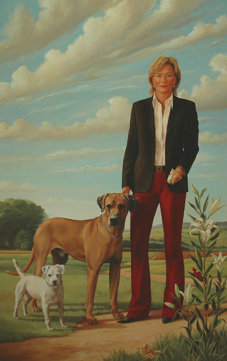 K. with Dogs and Lilies