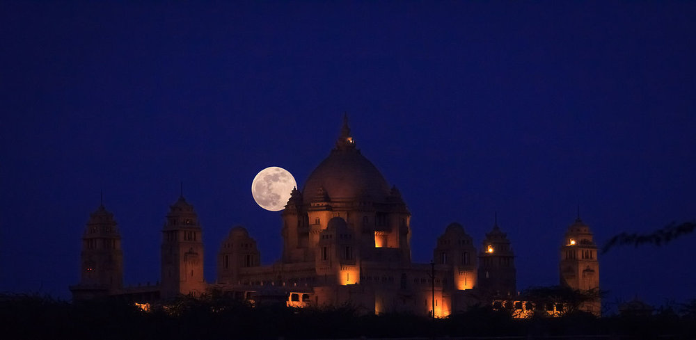 Supermoon of June 23, 2013 at Umaid Bhawan Palace, India