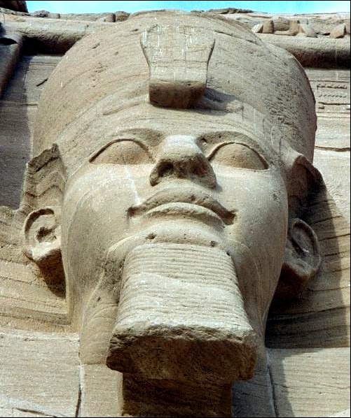 Pharaoh Ramses II of Egypt in Abu Simbel.