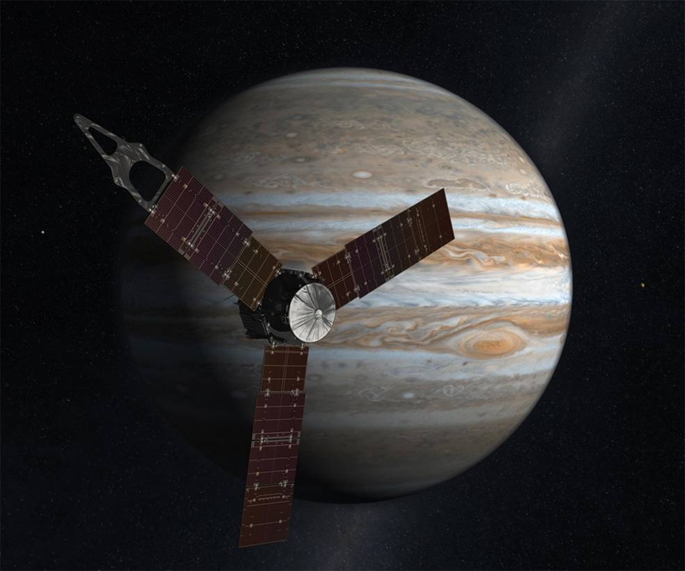 The probe Juno and its subject, the red-eyed Jupiter