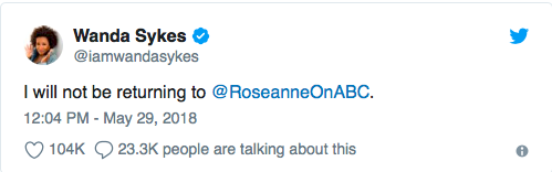 Show writer and comedian Wanda Skyes responded to Roseanne's tweet.
