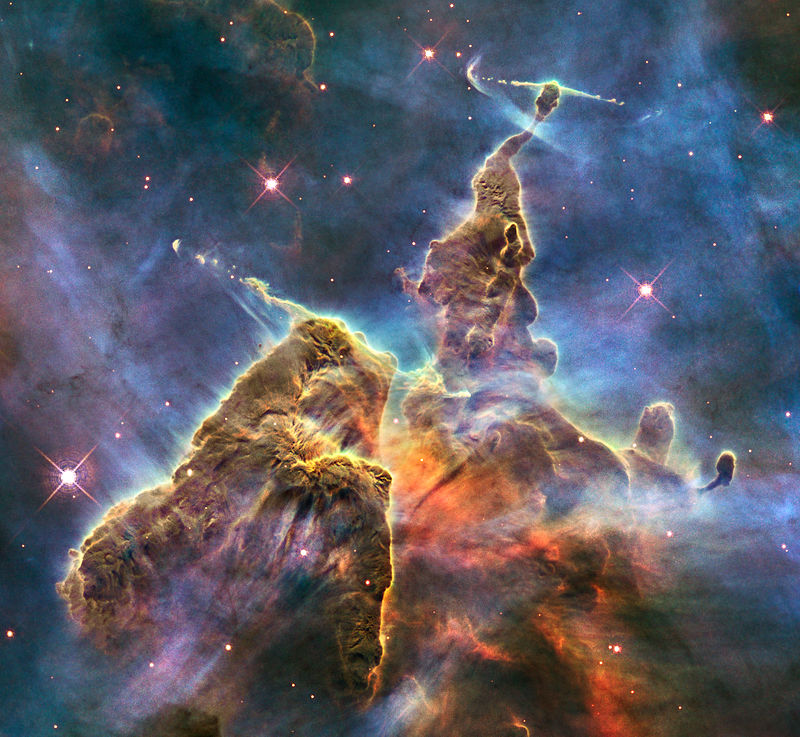 A pillar of gas and dust in the Carina Nebula. This Wide Field Camera 3image, dubbed Mystic Mountain, was released in 2010 to commemorate Hubble's 20th anniversary in space.
