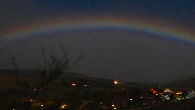 BBC Weather Watcher Kimspics captured the rare coloured moonbow in Alston, Cumbria