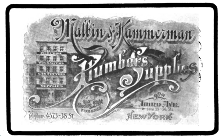 Malbin & Kammerman advertisement in The Plumbers Trade Journal, published January 1, 1902