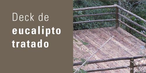 Deck de eucalipto tratado   Revestimento de madeira de eucalipto tratado para áreas externas ou internas. Aplicação para pisos (revestimento) ou parede (brise).  Veja aplicações ›