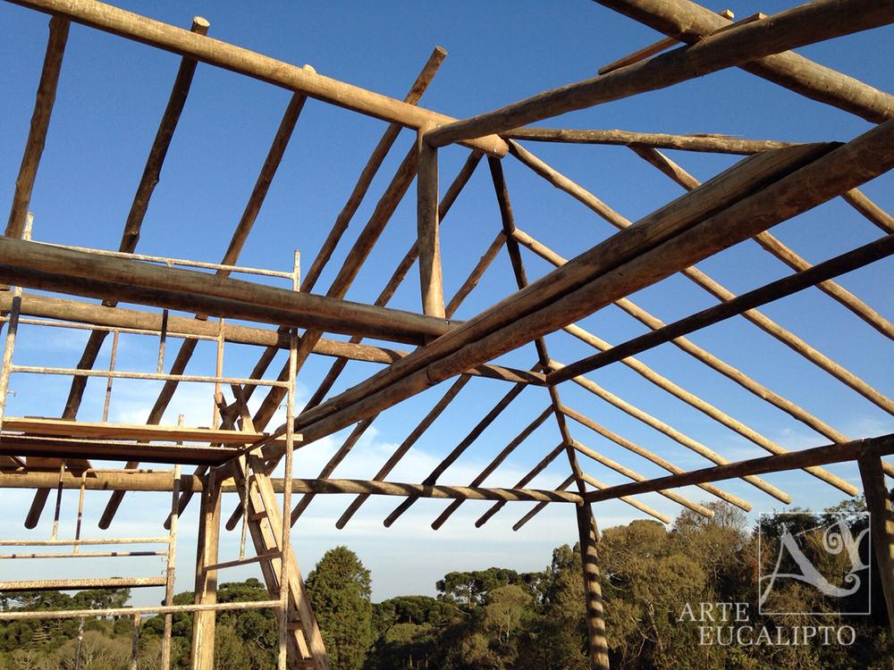 Estrutura em troncos de eucalipto espécie Citriodora Autoclavado obra Campo Largo - Pr
