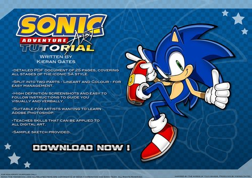 In 2012 I was invited to exhibit artwork at SEGA's annual Sonic the Hedgehog convention. Amongst my exhibition at the event was a detailed tutorial document presented on CD-Rom, aiming to teach growing artists skills in Adobe Photoshop. It proved very popular on the day and continues to be download by users digitally.  PART 01 PART 02