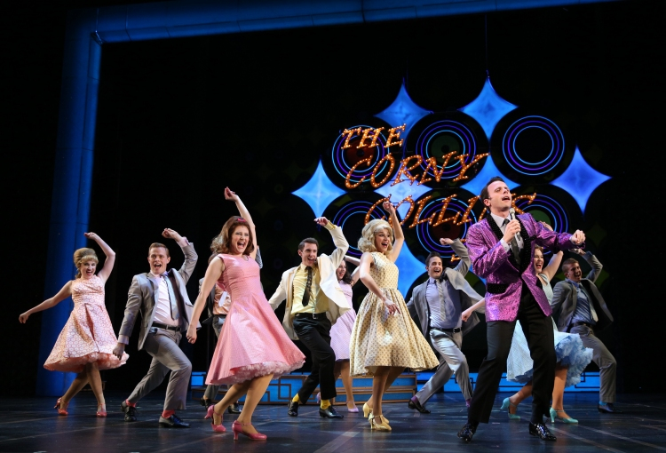 Baltimore TV host Corny Collins (Devin DeSantis, front, right) leads his Corny Collins Council Members in a dance - See more at: Broadway World