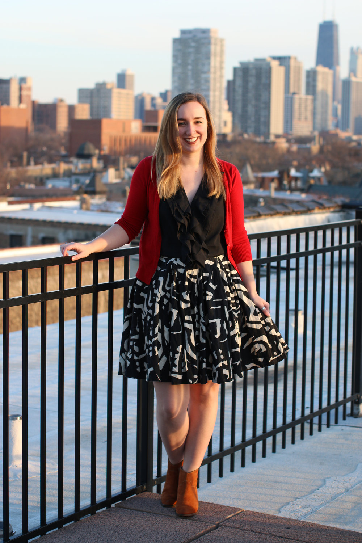 Outfit: Cardigan - ModCloth, Top - Kohls, Skirt - H&M, Boots - Carson Pririe Scott.