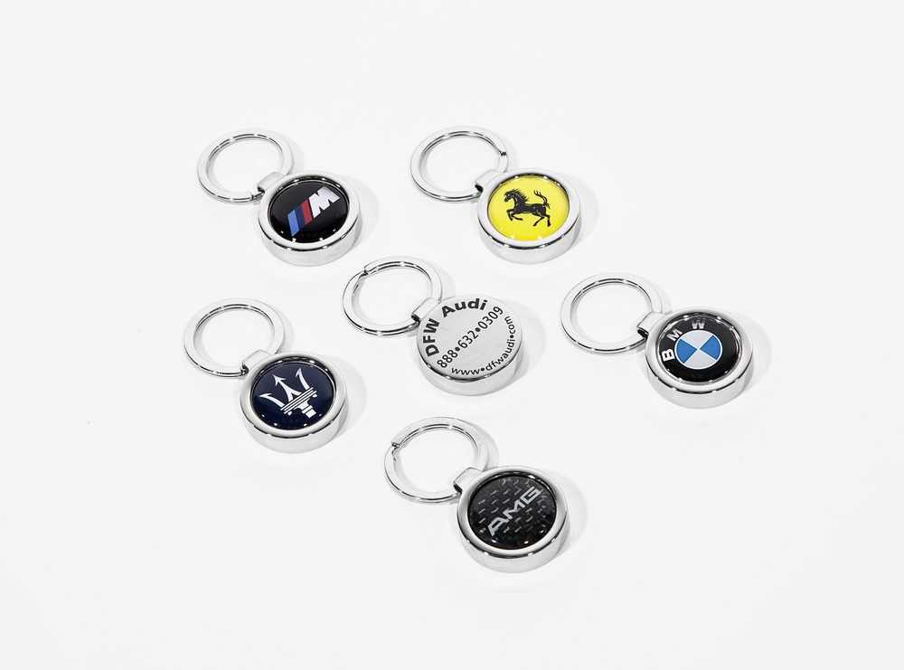 Medallion stainless steel key chains.