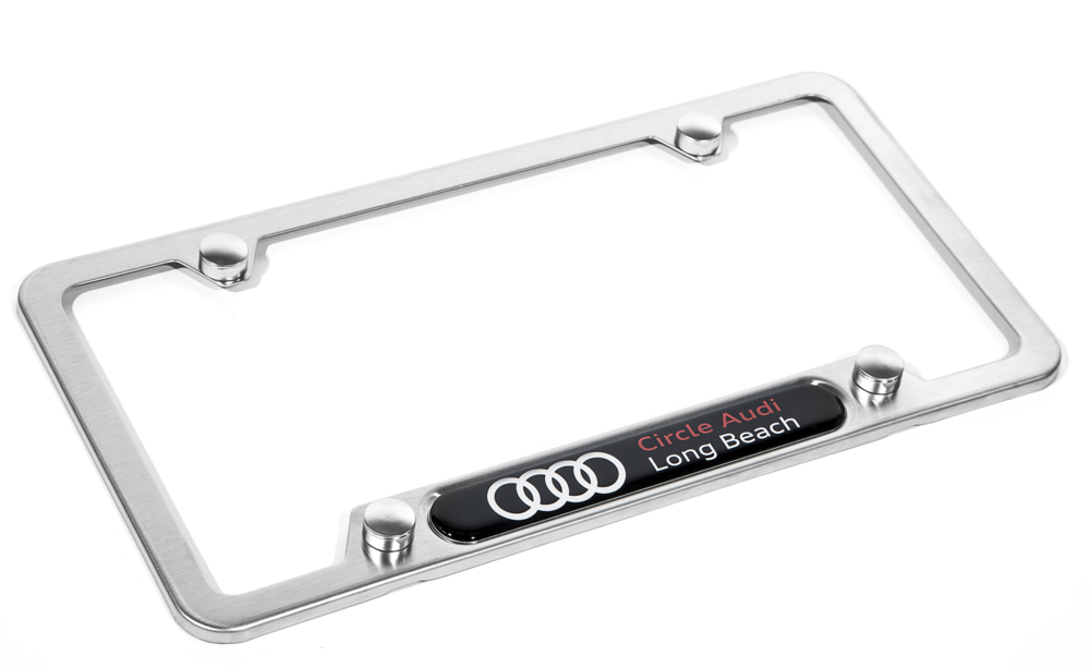 Brushed stainless steel license plate frame, featuring a high gloss black, high gloss silver, and red nameplate graphic.