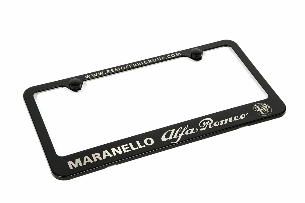 Black powder coated stainless steel license plate frame, with precision laser etched graphic.