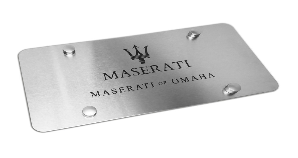 Custom Brushed Maserati of Omaha Marque Plate
