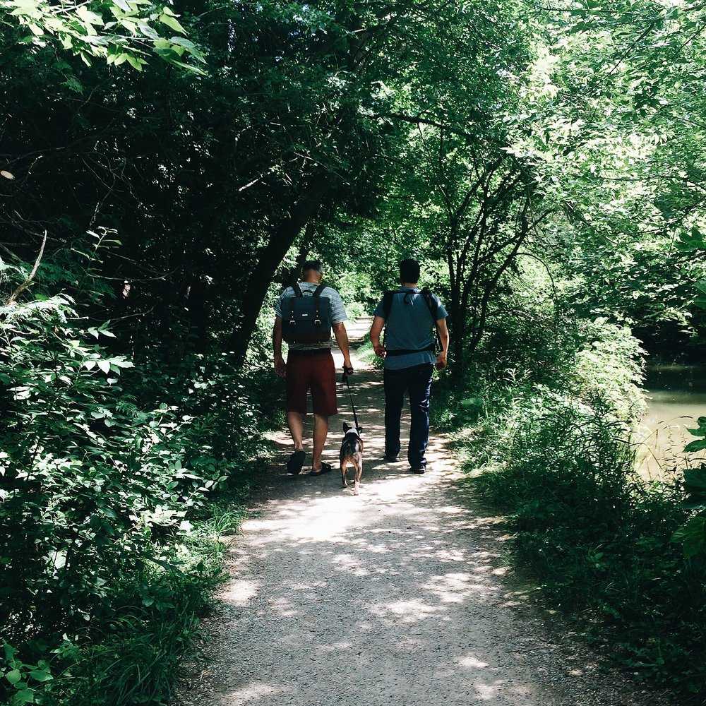 Summer 2016 Photo: We love trail walking with the fam jam. This is one of my parent's favourite places to walk @  Millrace Trail , St. Jacobs.