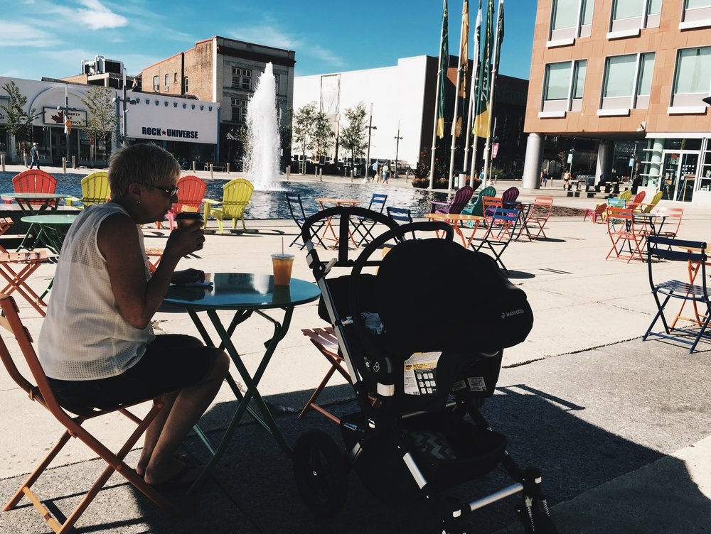 Summer 2016 Photo: Another summer favourite. Coffee for mom and Iced Tea for me from Matter of Taste. We like to drink our bevvies and chat up a storm while watching the fountain @ Kitchener City Hall.