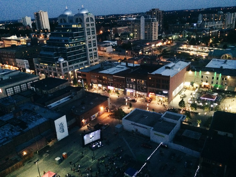 Summer 2016 Photo: City Centre Balcony view of Summer Lights Festival, downtown Kitchener.