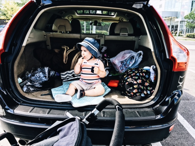 Summer 2017 Photo: Day trip reality with a toddler = living out of your trunk.