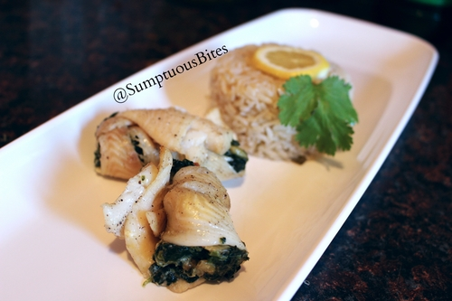 Spinach & Shrimp Stuffed Flounder