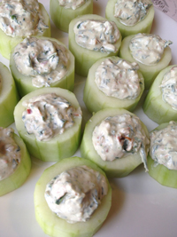 Cucumber Cups Filled With Spinach Di  p