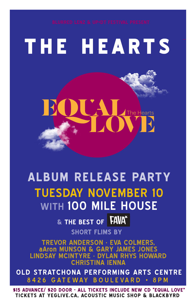 The Hearts - Equal Love Album Release Poster - Edmonton - Nov 10 2015