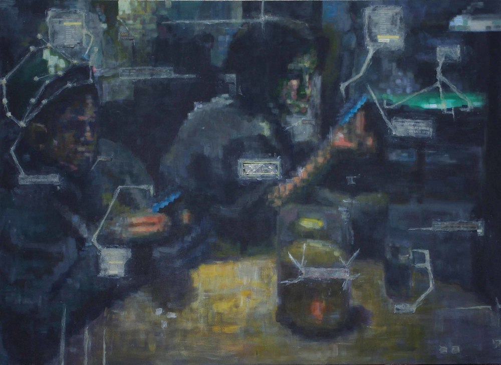 """""""Interface logic"""":An older school project, purposefully blurred in a digital way. Wierd what you can still see. in this bar scene."""