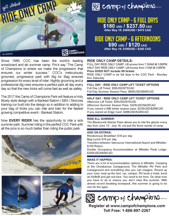 Camp of Champions Ride Only Camp Flyer 2017
