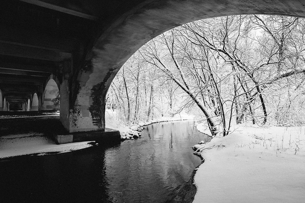 Minnehaha Creek under the Nicollet Avenue bridge in Minneapolis
