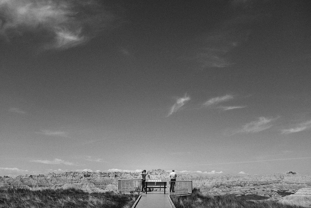 German tourists at one of the many observation decks in Badlands National Park, SD
