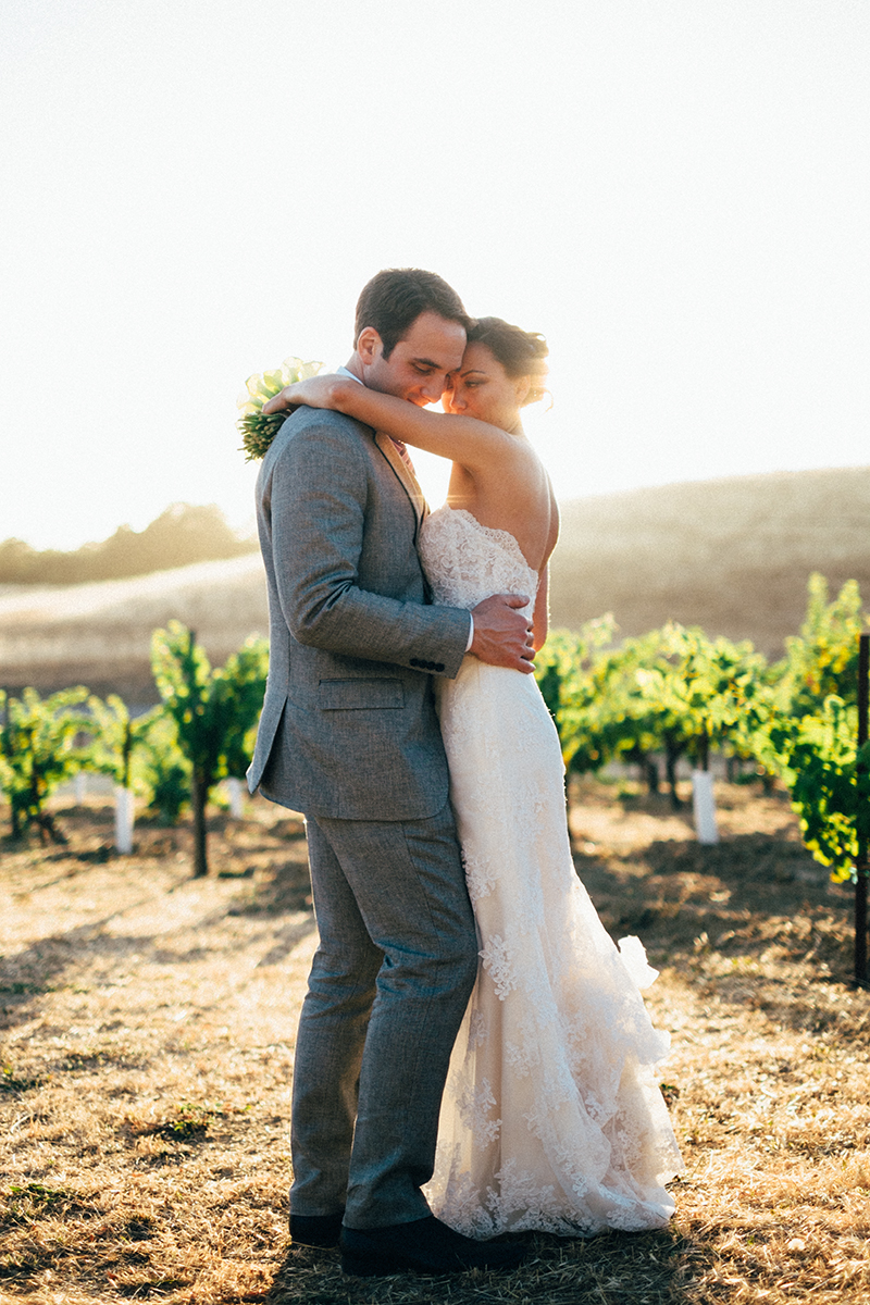 Bride and groom at a winery in Sonoma, CA