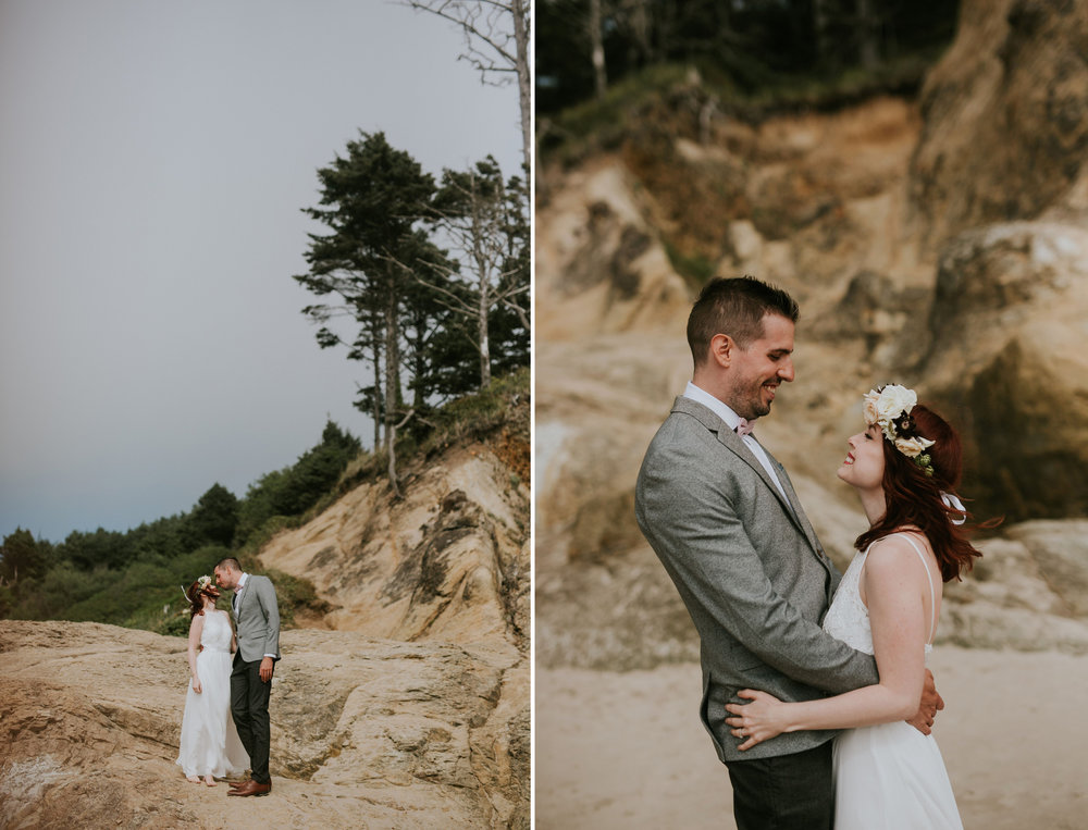 Hug Point, Oregon Intimate Elopement- The soft Season Photograph