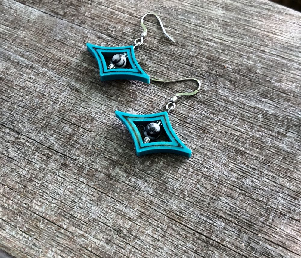 3D Printed Starlight Earrings Dark Teal and Black with Black and