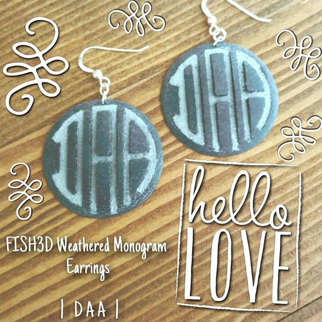 | D A A | #monogramearrings #monogramjewelry #FISH3D