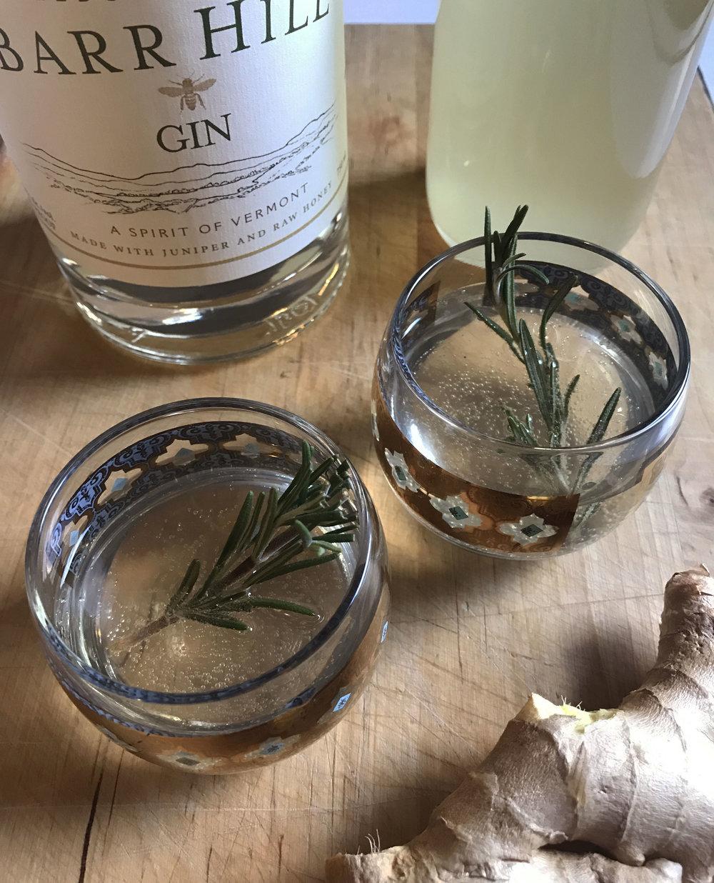 Rosemary-Ginger Gin Sparkler
