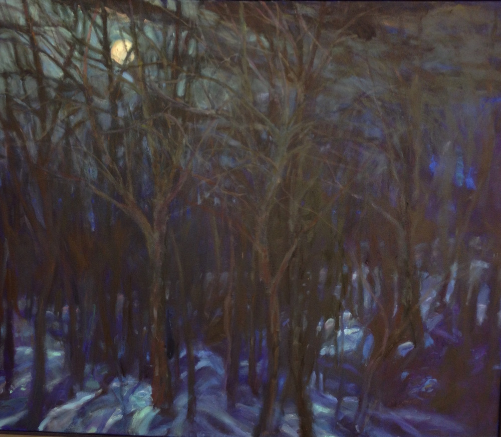 Moonrise woods, 38x44""