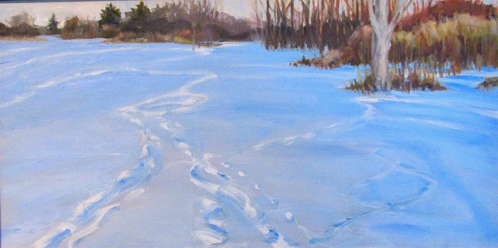 Deer tracks evening, 10x20""