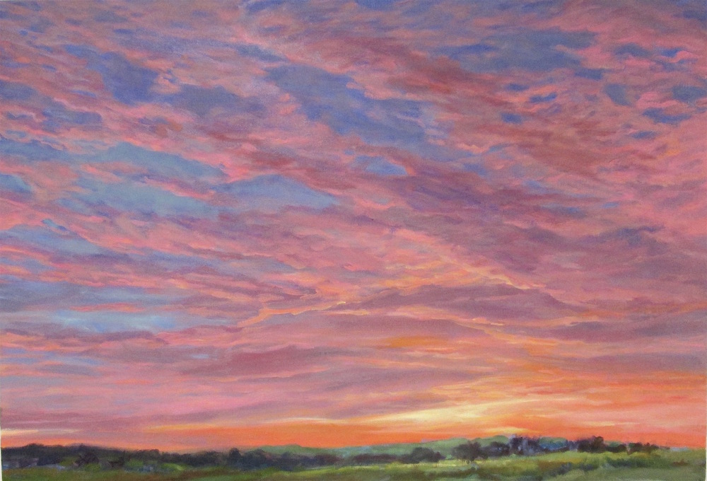 "Pink Sunrise, 22x33""  Available at Bonfoey Gallery, Cleveland OH"